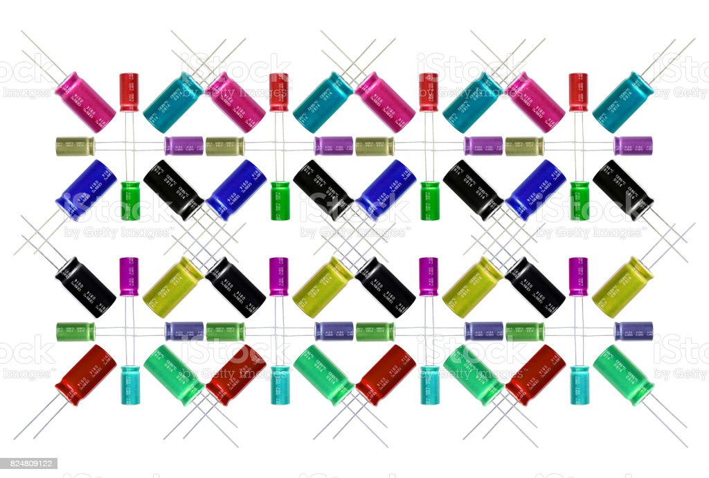 Electrolytic Capacitors Pattern, multi-color and many sizes stock photo
