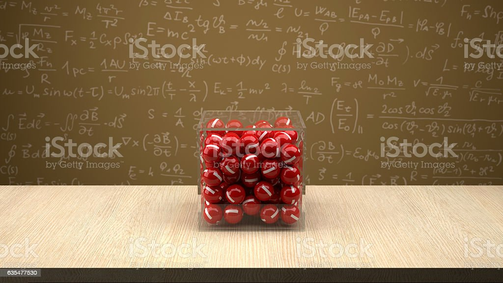 Electron box in front of physics board. stock photo