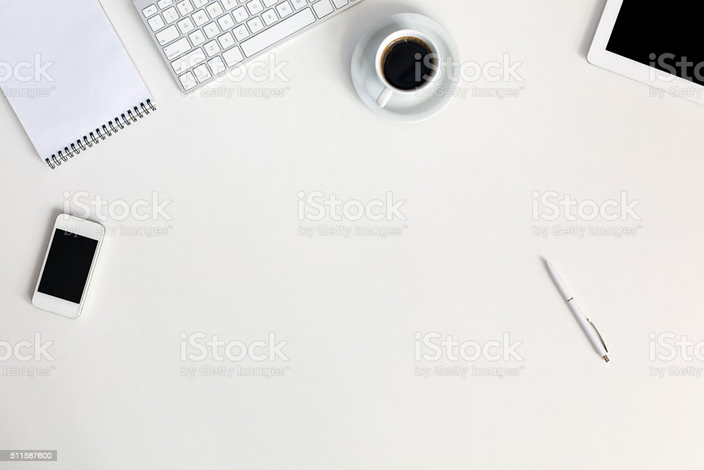 Electronic and Business Items dropped in creative Disorder stock photo