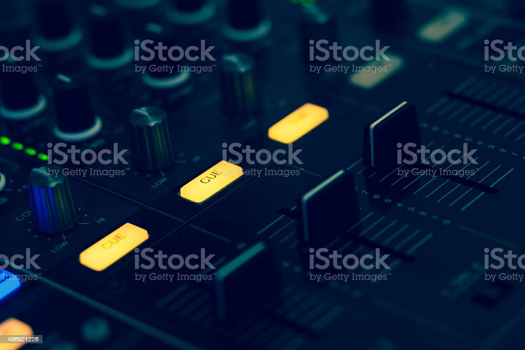 Electronic audio recording device knobs and controls stock photo
