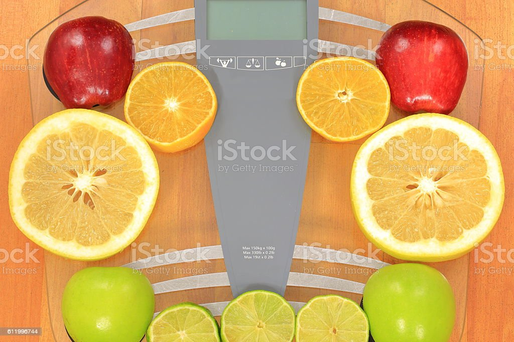 Electronic Balance Fruits stock photo