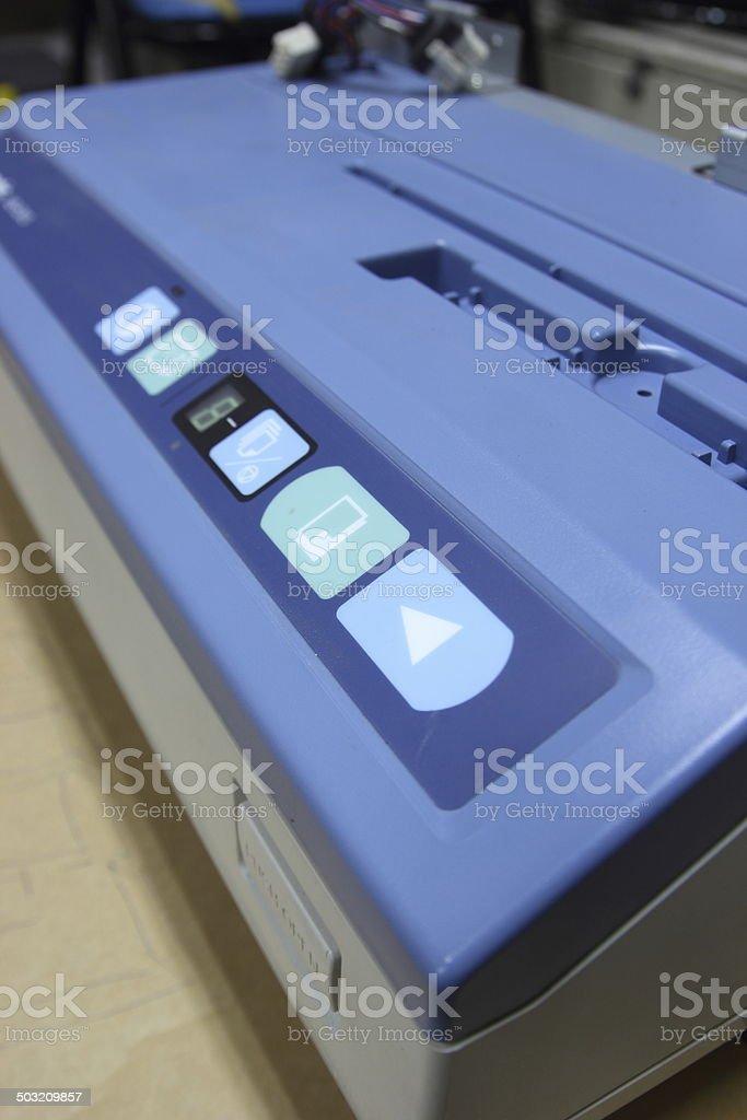 Electronic board panel, press the print button. stock photo