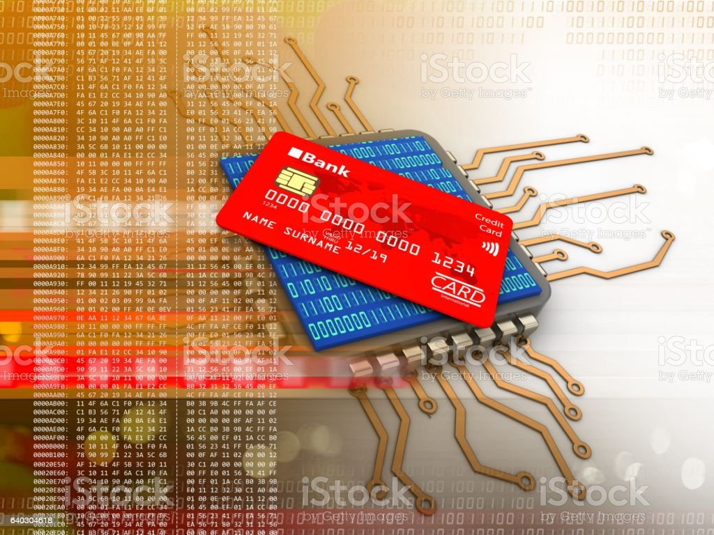 electronic board  with bank card stock photo