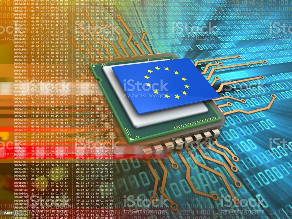 electronic board  with EU flag stock photo