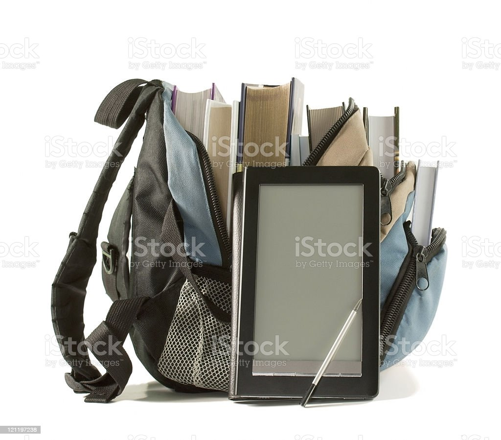 Electronic book with books in backpack on the white background royalty-free stock photo