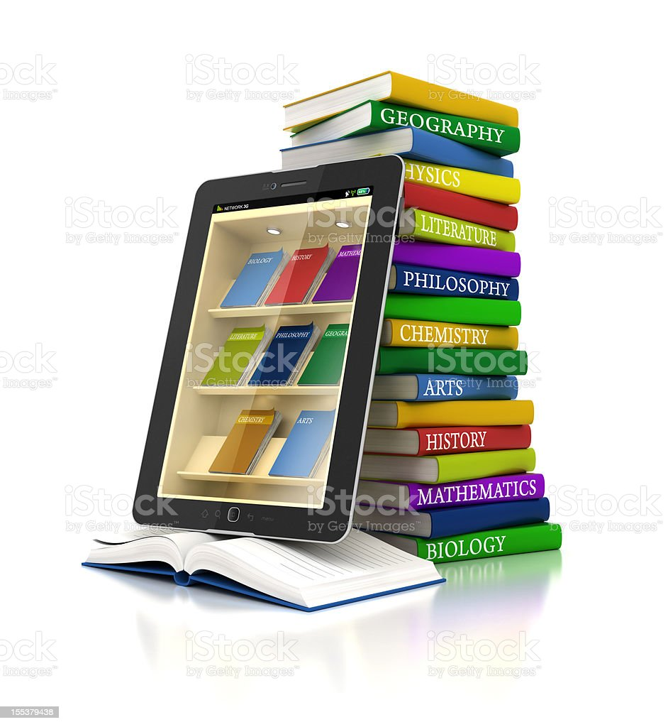 electronic books library in tablet stock photo