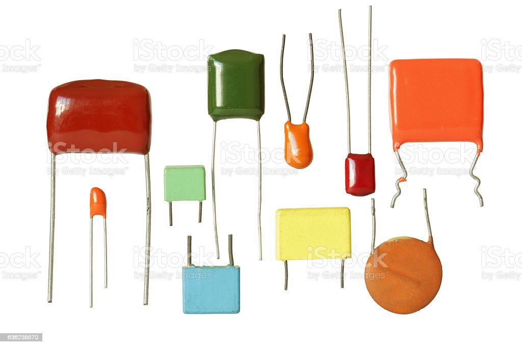 Electronic Capacitors Several Types isolated on white background stock photo