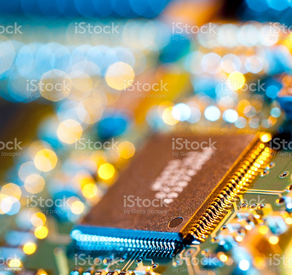 Electronic chip on circuit board royalty-free stock photo