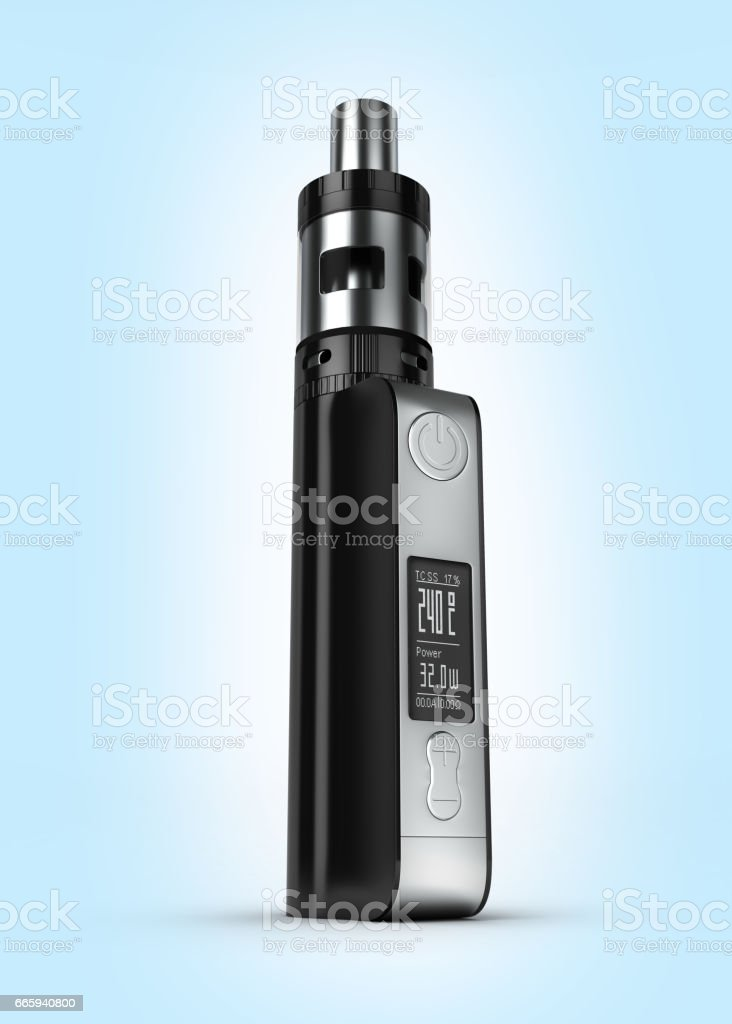 electronic cigarettе box mode on blue gradient background 3d stock photo