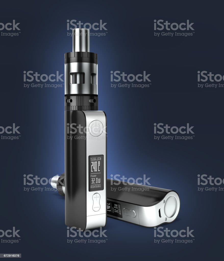 electronic cigarettе box mode on dark blue gradient background 3d stock photo