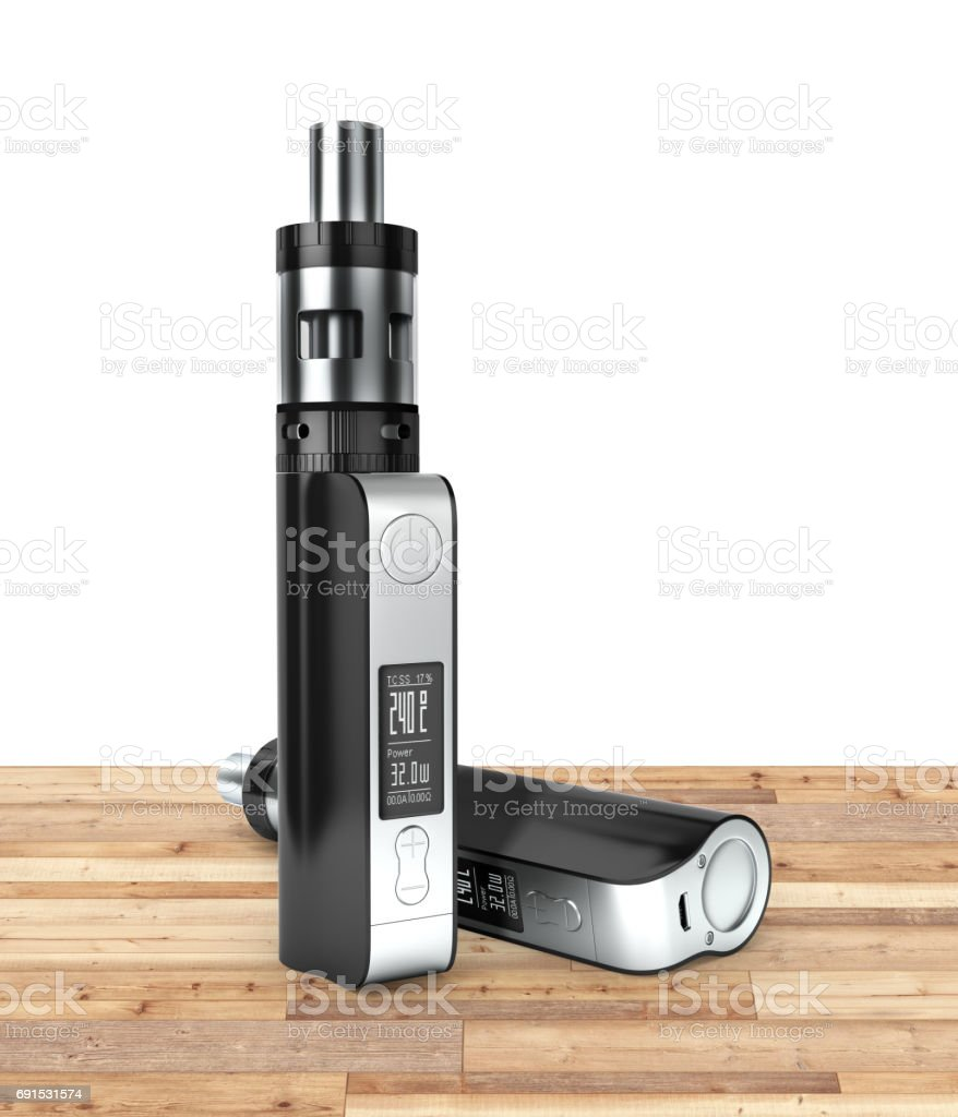 electronic cigarettе box mode on wood floor and white background 3d stock photo