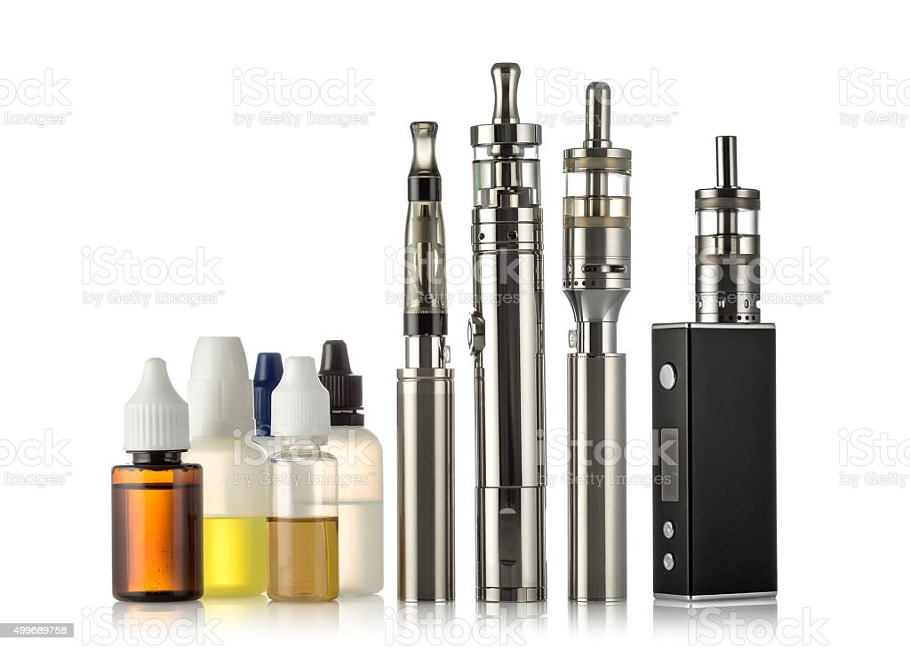 electronic cigarettes collection isolated on white stock photo