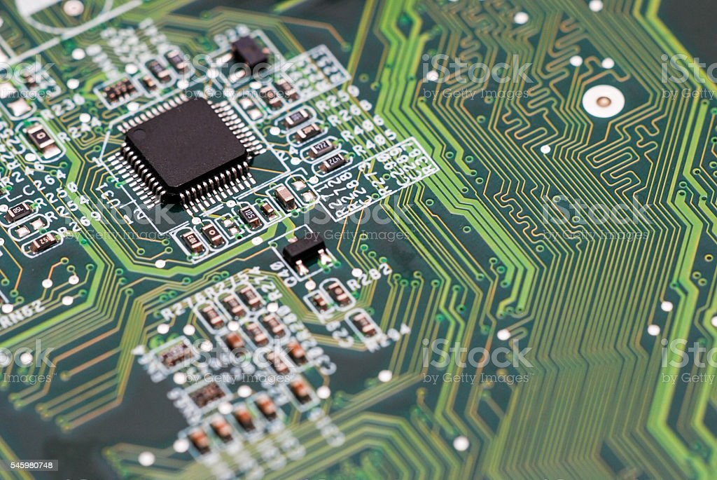 Electronic circuit abstract macro stock photo