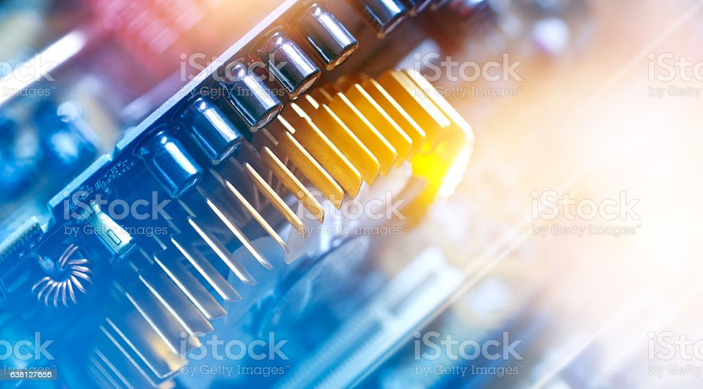 Electronic circuit and colorful computer mainboard stock photo