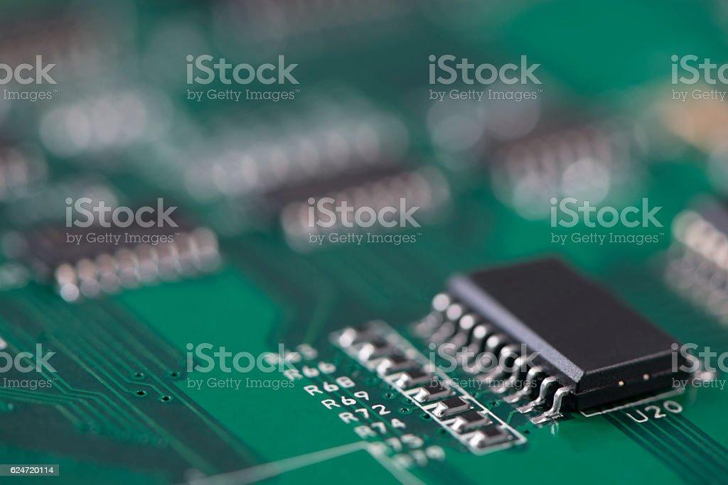 Electronic circuit based on Surface-Mount Technology (SMT). stock photo