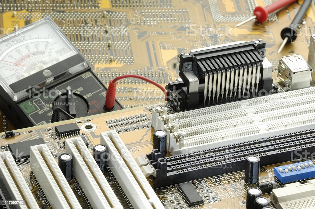 Electronic circuit board and tester royalty-free stock photo