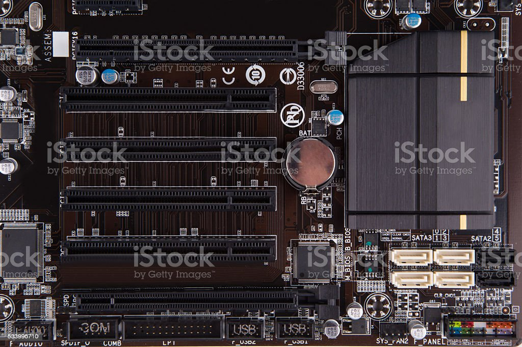 Electronic circuit board of motherboard back. stock photo