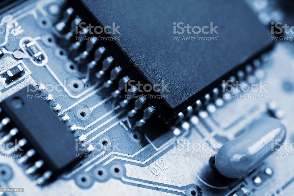 Electronic circuit board with processors stock photo