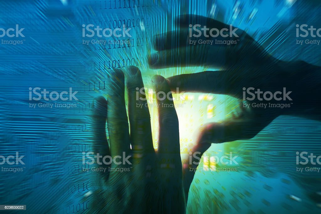 electronic circuit CPU board with binary digits stock photo