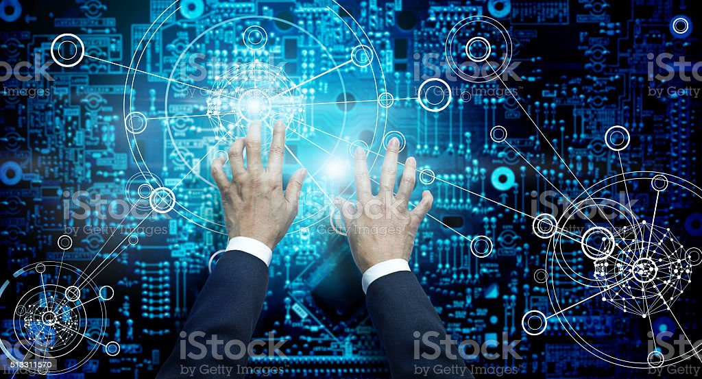 Electronic circuit network grunge background stock photo