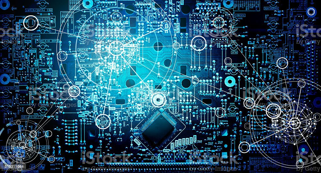 Electronic circuit network grunge background stock photo