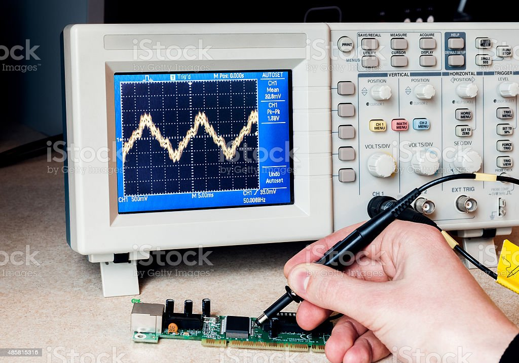 Electronic circuit testing stock photo