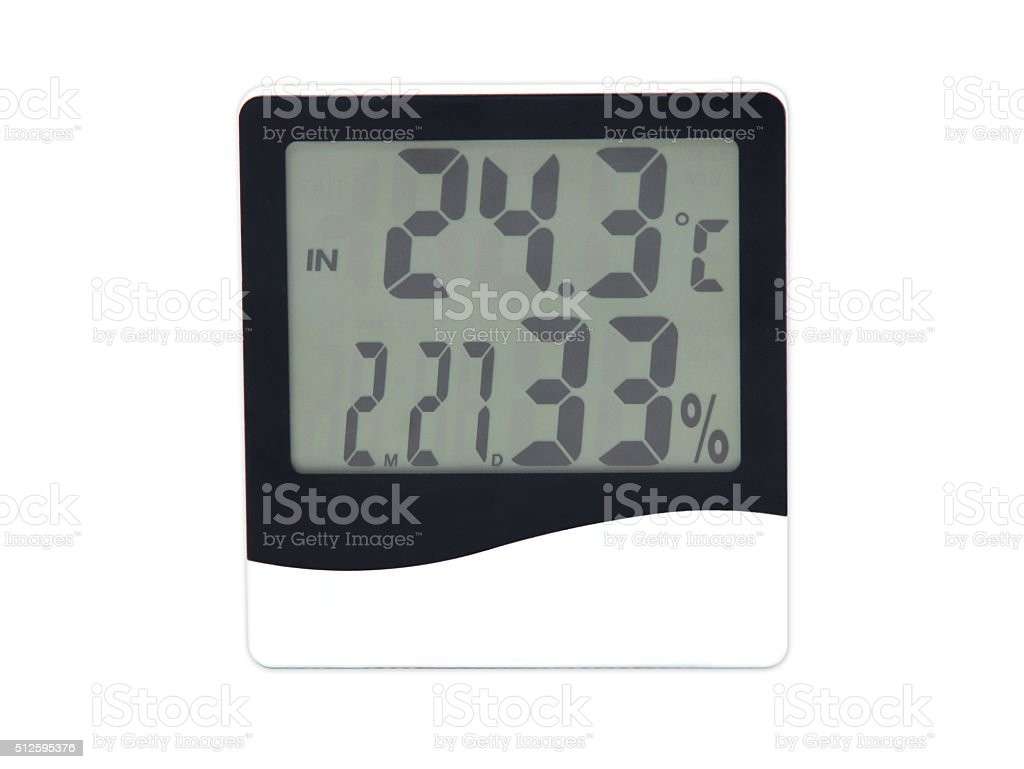 electronic clock, calendar, thermometer and hygrometer stock photo