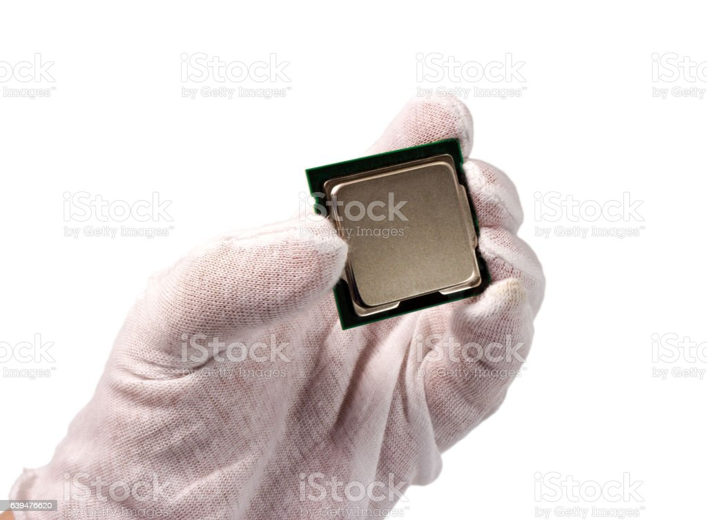 Electronic collection - CPU in hand isolated on white background stock photo