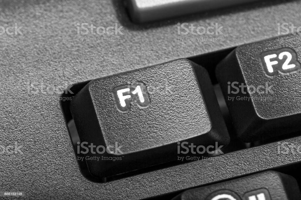 Electronic collection - detail computer key f1 stock photo
