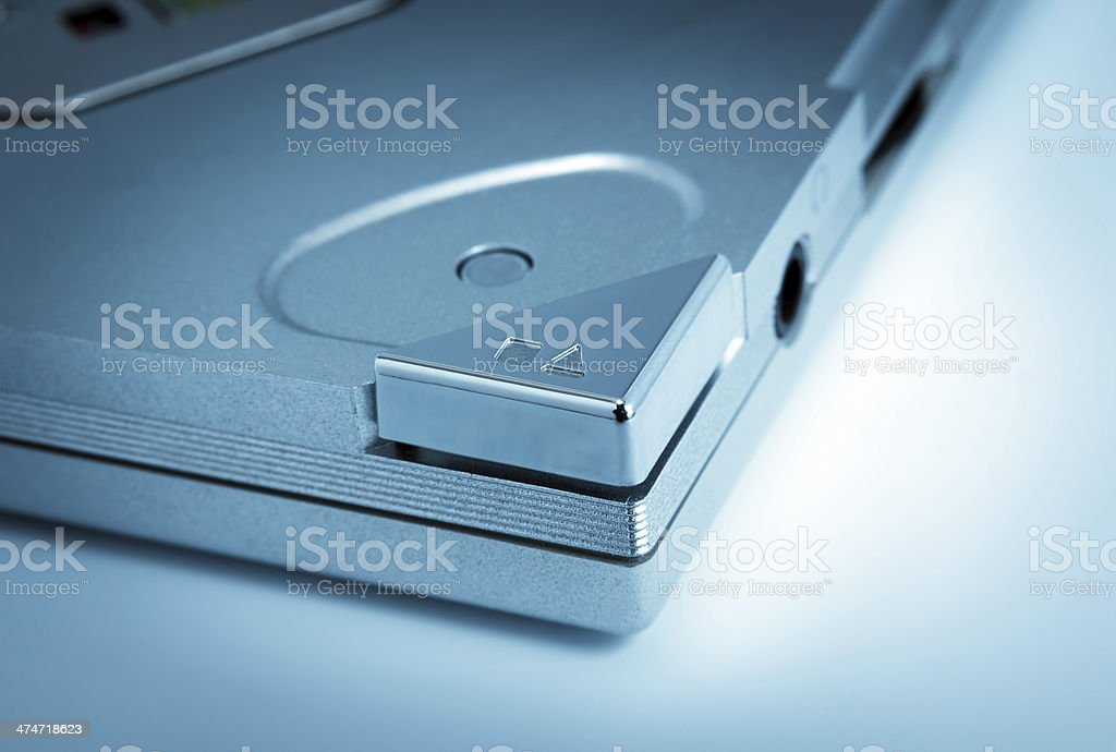 Electronic collection - Eject button toned blue stock photo