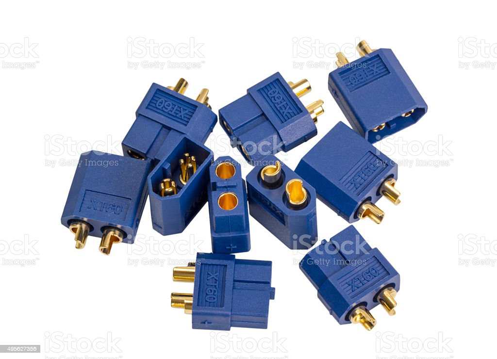 Electronic collection - Low voltage high-power connector industrial standard XT60 stock photo
