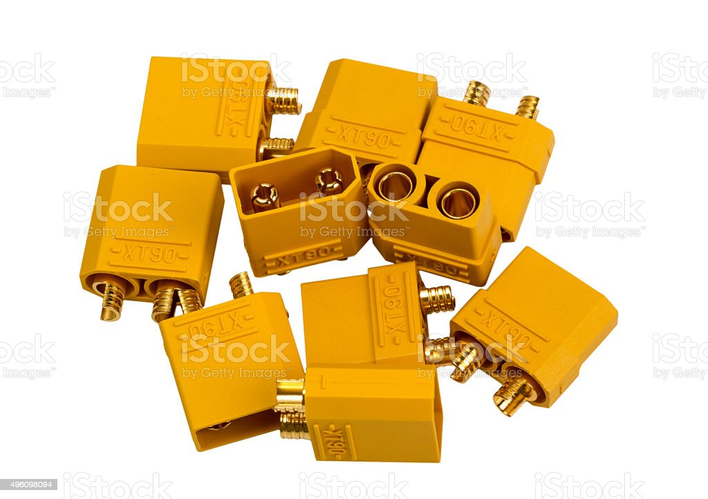 Electronic collection - Low voltage high-power connector  industrial standard XT90 stock photo