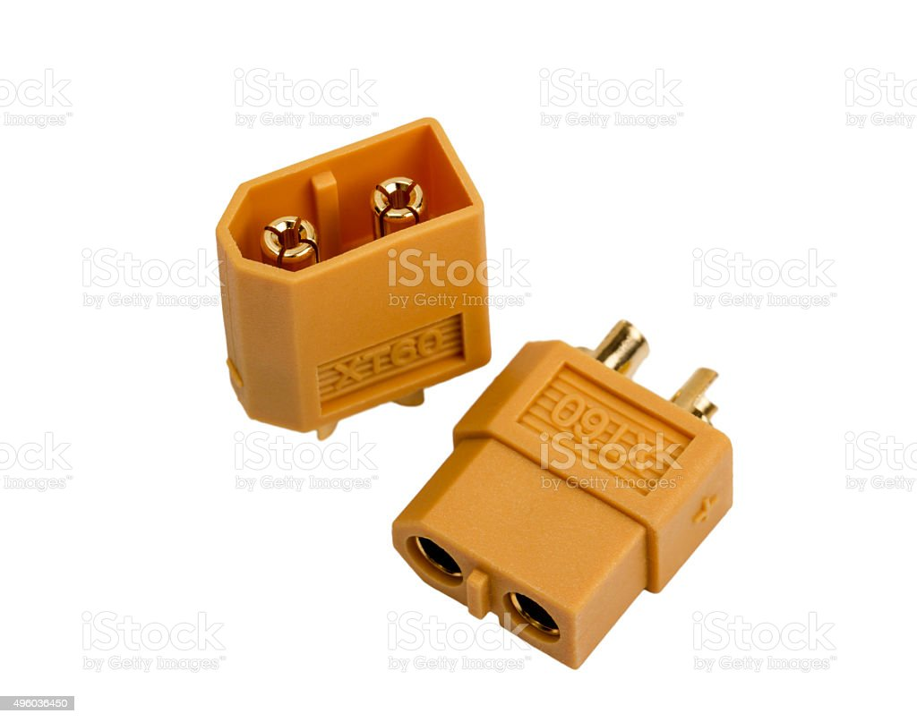 Electronic collection - Low voltage powerful connector industrial standard XT60 stock photo