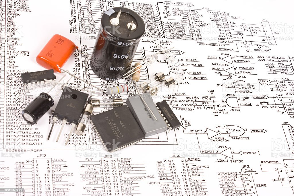 Electronic components and schematic royalty-free stock photo