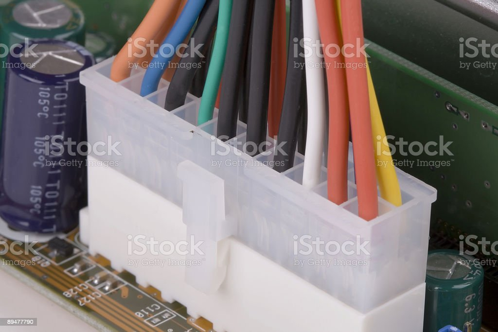Electronic components computer motherboard power connector royalty-free stock photo