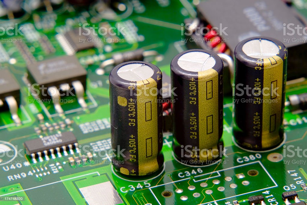 Electronic components of motherboard  royalty-free stock photo