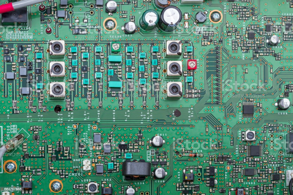 Electronic components on a circuit board stock photo
