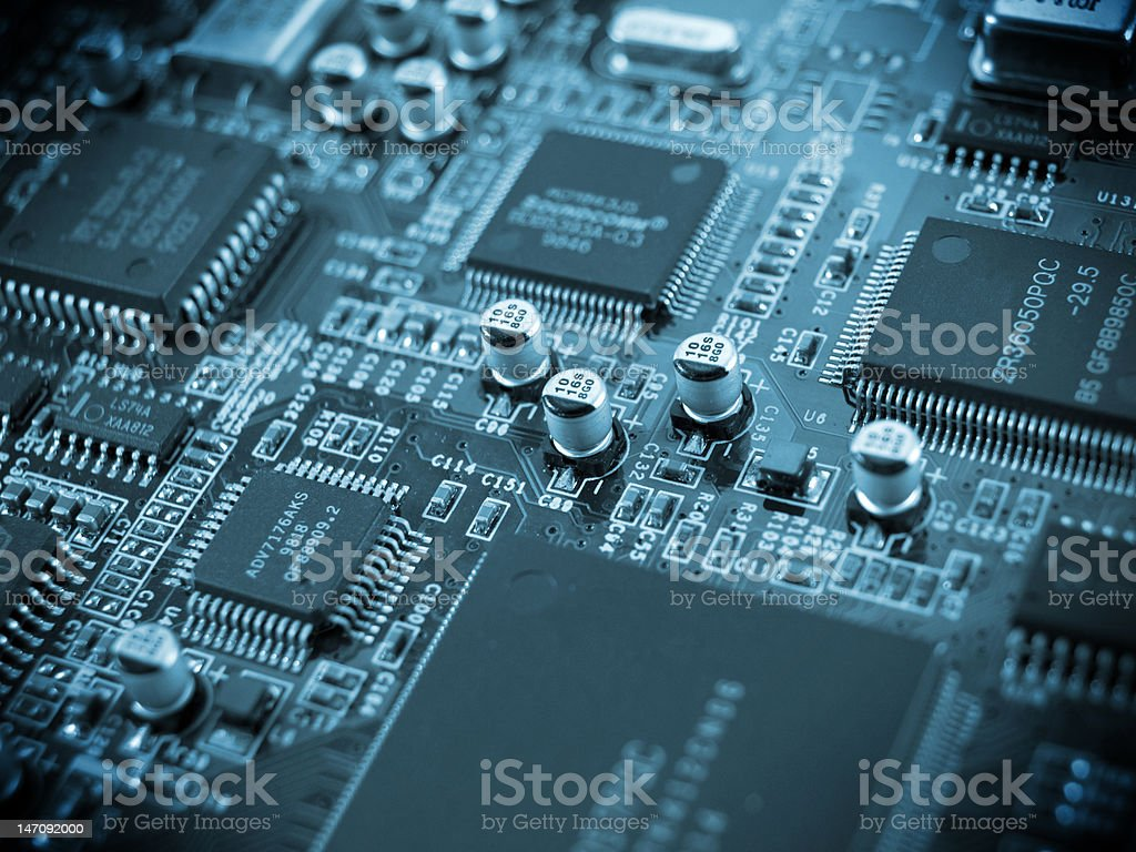 Electronic Computer Circuit Board royalty-free stock photo
