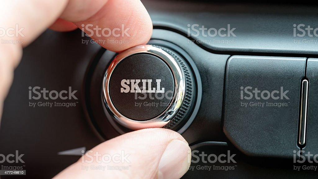Electronic control button with the word - Skill stock photo