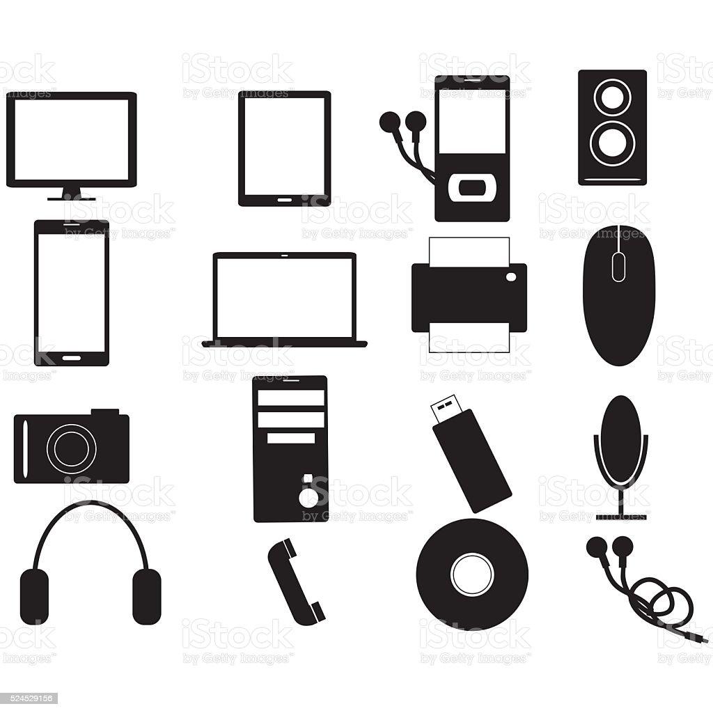 Electronic devices black icon set stock photo