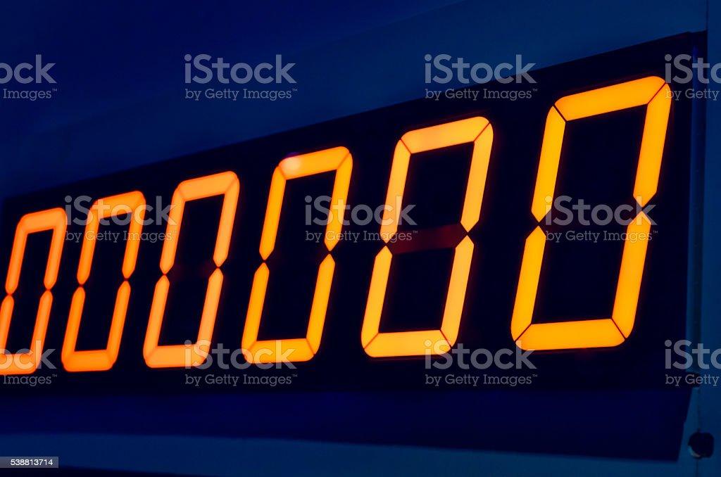 Electronic digital numbers show zero stock photo