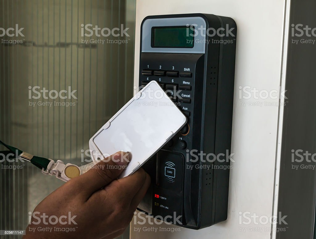 Electronic door lock, opening by security card stock photo