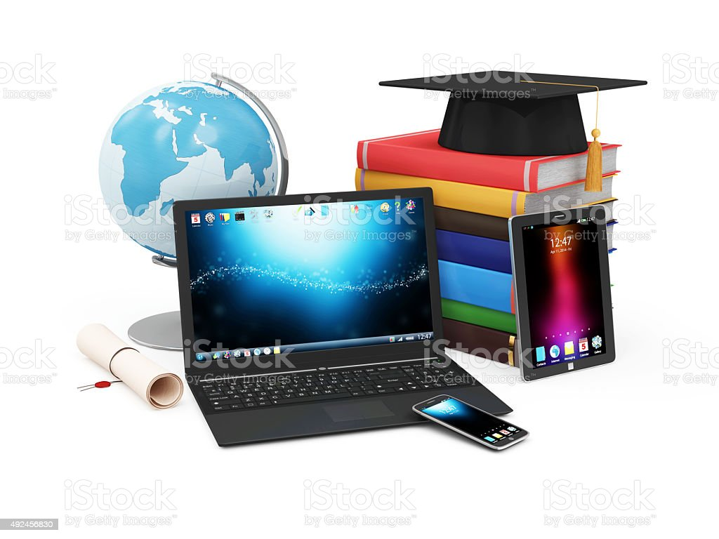 Electronic Educational Technology or E-Learning Concept stock photo