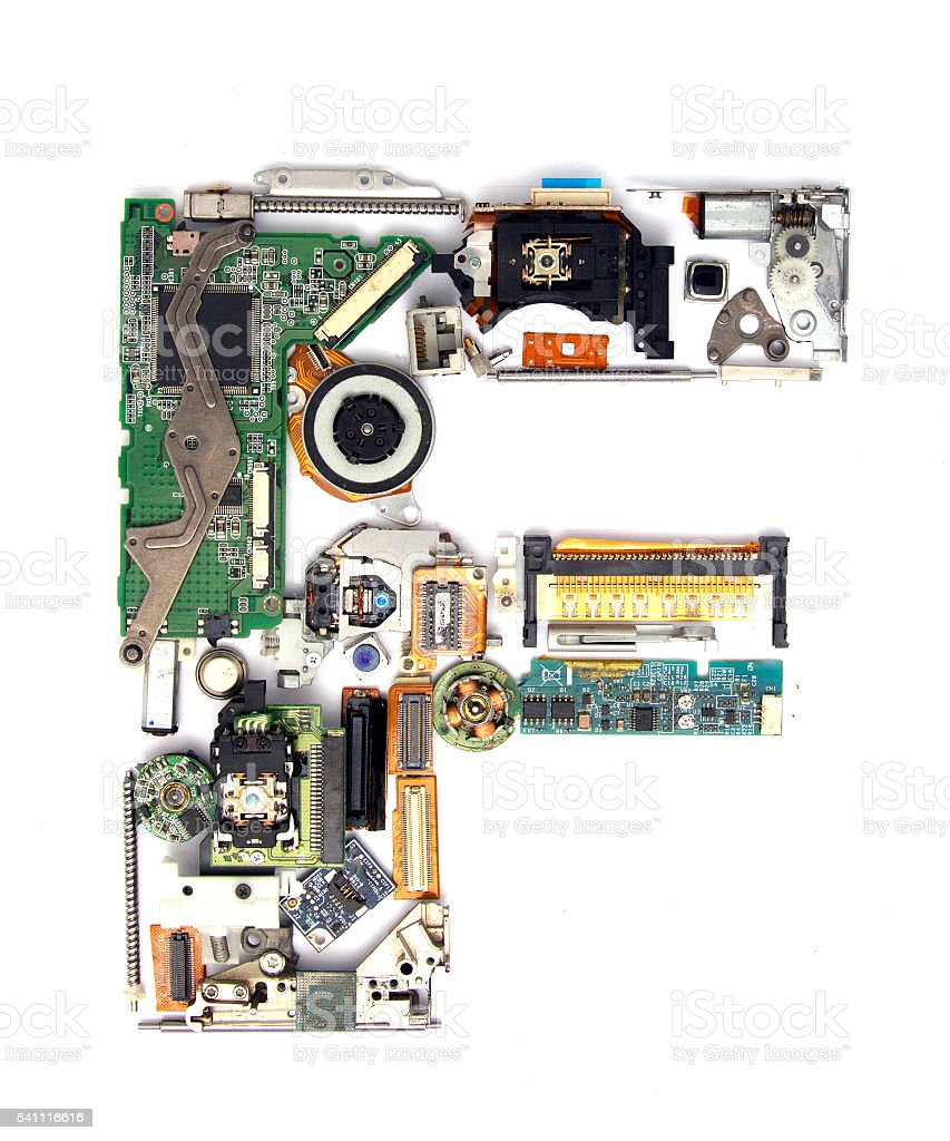 electronic F stock photo