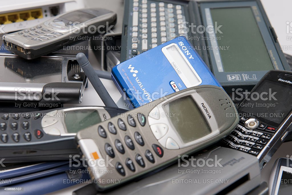 Electronic gadgets that have no further use royalty-free stock photo
