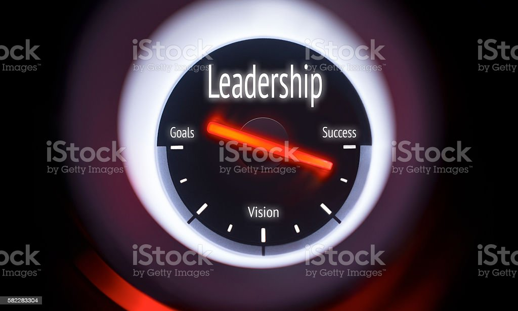 Electronic gauge displaying a Leadership Concept stock photo