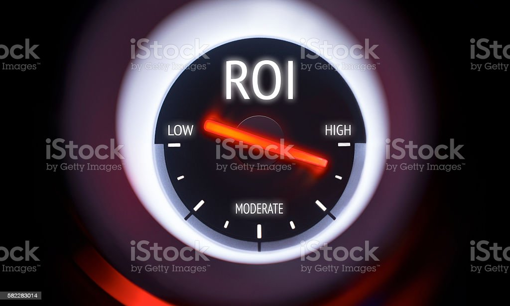 Electronic gauge displaying a Return on Investment Concept stock photo