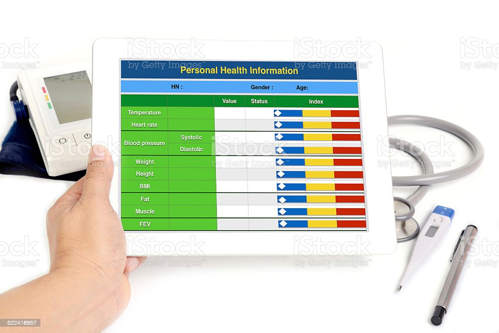Electronic health information. stock photo