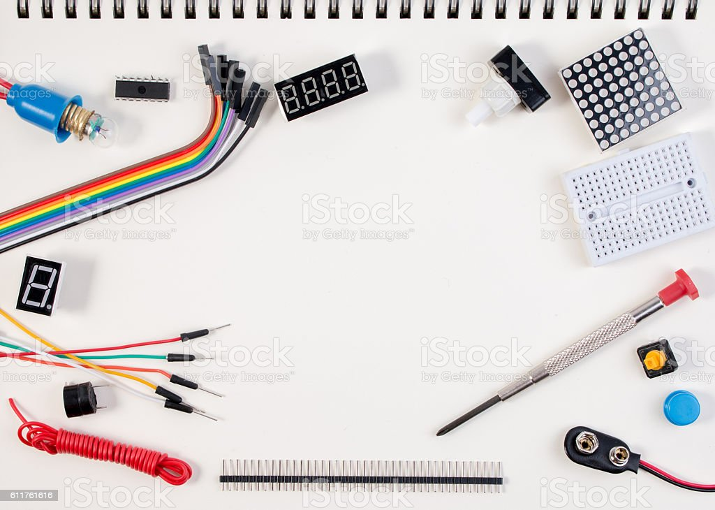 DIY Electronic Kit , Robot made on base of electronic tools. stock photo