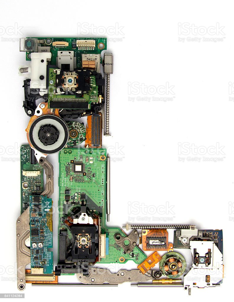electronic L stock photo